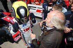 Andy Soucek is congratulated on winning race 2