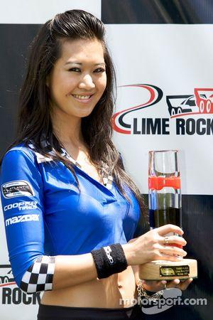 Podium: a charming Mazda Cooper Tires girl