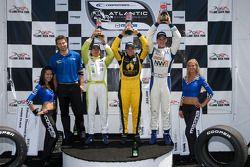 Podium: race winner Simona De Silvestro, Team Stargate Worlds, second place John Edwards, Newman Wachs Racing, third place Borja Garcia, Condor Motorsports