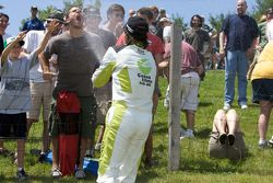 Third place Borja Garcia, Condor Motorsports gives a champagne shower to a fan