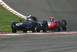 #40 Wulf Goetze (D) Cooper T40, soon to be lapped by #1 John Harper (GB) Brabham BT4