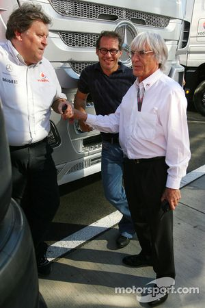 Norbert Haug, Mercedes, Motorsport chief, Jacques Villeneuve and Bernie Ecclestone