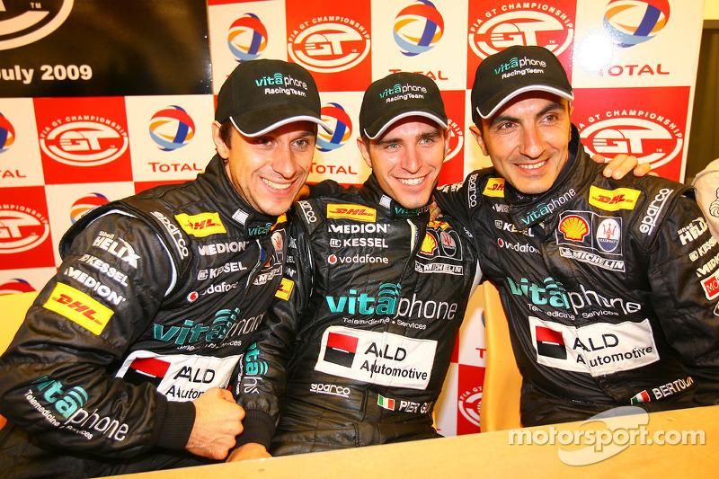 Pole winner Alex Müller with Alessandro Pier Guidi and Andrea Bertolini