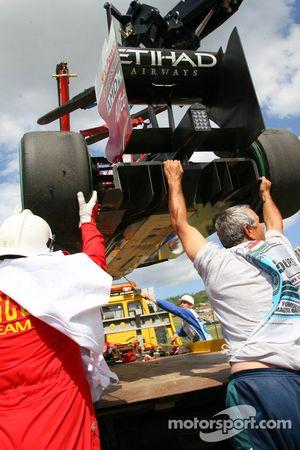 La Ferrari accidentée de Felipe Massa