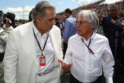 Placido Domingo, tenor and conductor and Bernie Ecclestone, President and CEO of Formula One Managem