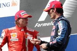 Podium: second place Kimi Raikkonen, Scuderia Ferrari, third place Mark Webber, Red Bull Racing