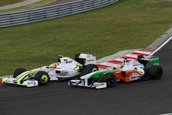 Rubens Barrichello, Brawn GP y Adrian Sutil, Force India F1 Team