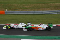 Rubens Barrichello, Brawn GP and Adrian Sutil, Force India F1 Team