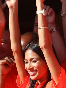 McLaren Mercedes victory celebration: Nicole Scherzinger, Singer in the Pussycat Dolls and girlfrien