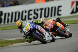 Valentino Rossi, Fiat Yamaha Team leads Andrea Dovizioso, Repsol Honda Team