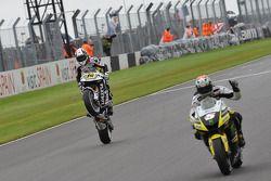 Colin Edwards, Monster Yamaha Tech 3 takes second place, Randy De Puniet, LCR Honda MotoGP takes third place