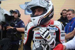 Randy De Puniet, LCR Honda MotoGP celebrates third place