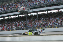 Jimmie Johnson, Hendrick Motorsports Chevrolet, takes the checkered flag