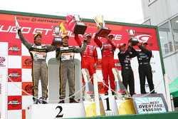 GT500 podium: class and overall winners Satoshi Motoyama and Benoit Treluyer, second place Andre Couto and Kohei Hirate, third place Ryo Michigami and Takashi Kogure