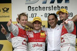Podium: race winner Timo Scheider, Audi Sport Team Abt Audi A4 DTM, second place Mattias Ekström, A