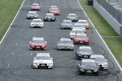 Start: Timo Scheider, Audi Sport Team Abt Audi A4 DTM leads the field
