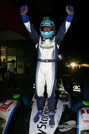 Race winner Jean-Christophe Boullion celebrates