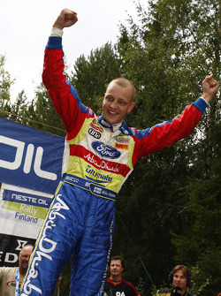 Rally winner Mikko Hirvonen celebrates