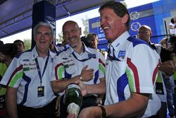 Malcolm Wilson, John Fleming and Gerard Quinn in good spirits following Mikko Hirvonen's victory on the 2009 Rally Finland
