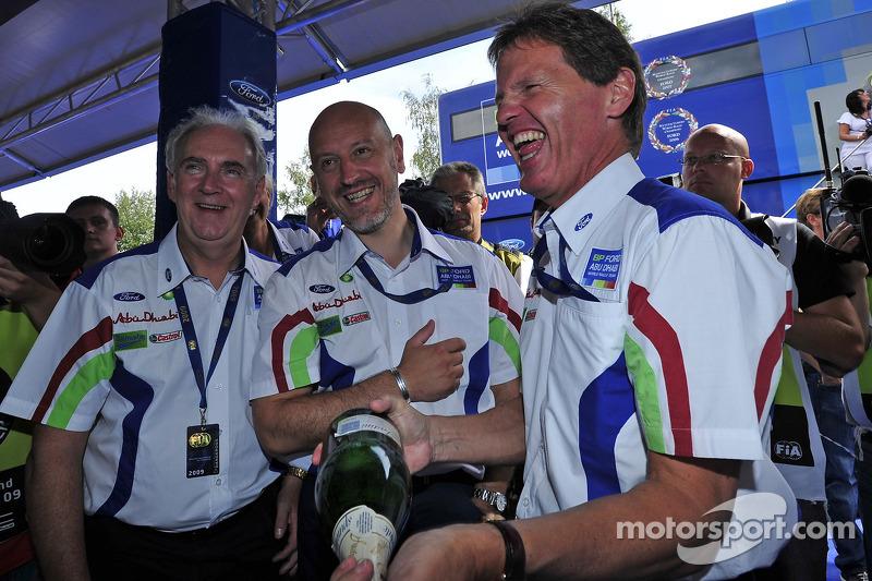 Malcolm Wilson, John Fleming and Gerard Quinn in good spirits following Mikko Hirvonen's victory on