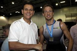 Mark Cameron with Jenson Button, Brawn GP during the London triathlon