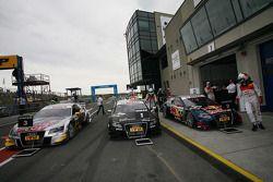 Race winner Timo Scheider, Audi Sport Team Abt Audi A4 DTM arrives in parc fermé
