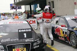Race winner Timo Scheider, Audi Sport Team Abt Audi A4 DTM celebrates with Mattias Ekström, Audi Sp