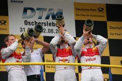 Podium: race winner Timo Scheider, Audi Sport Team Abt Audi A4 DTM, second place Mattias Ekström, A