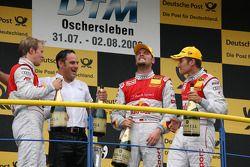 Podium: race winner Timo Scheider, Audi Sport Team Abt Audi A4 DTM, second place Mattias Ekström, Audi Sport Team Abt Audi A4 DTM, third place Martin Tomczyk, Audi Sport Team Abt Audi A4 DTM, and Hans-Jurgen Abt