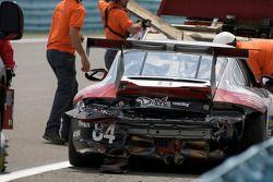 #84 Farnbacher Loles Racing Porsche GT3: Jim Pace, John Tancredi crashes