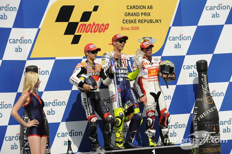 Peraih podium: Rossi, Pedrosa dan Toni Elias