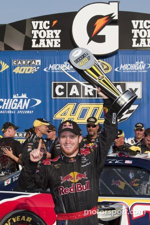 Victory lane: race winner Brian Vickers celebrates