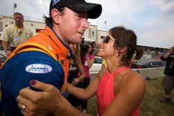 Race winner Andrew Ranger celebrates with his girlfriend