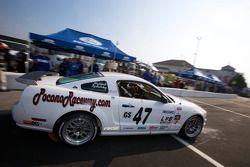 Pit stop for #47 JBS Motorsports Ford Mustang GT: Nick Igdalsky, Chase Mattioli