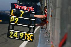 Pitboard of Martin Tomczyk, Audi Sport Team Abt Audi A4 DTM