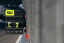 Pitboard of Ralf Schumacher, Team HWA AMG Mercedes C-Klasse