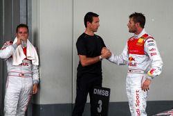 Former DTM driver Manuel Reuter congratulates winner Martin Tomczyk, Audi Sport Team Abt Audi A4 DTM