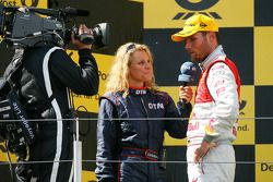 Podium: race winner Martin Tomczyk, Audi Sport Team Abt interviewed by his own girlfriend Christina
