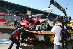 Crashed car of Katherine Legge, Audi Sport Team Abt Audi A4 DTM