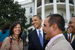 President Barack Obama welcomes to the White House Connie Montoya and NASCAR Sprint Cup Series driver Juan Pablo Montoya during NASCAR's visit to Washington, D.C.