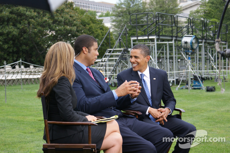 President Barack Obama Listens To A Question From Espn Analyst Brad