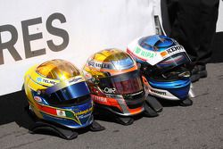 Helmets of race winner Jules Bianchi, ART Grand Prix Dallara F308 Mercedes, second place Valtteri Bottas, ART Grand Prix Dallara F308 Mercedes, third place Esteban Gutierrez, ART Grand Prix Dallara F308 Mercedes