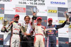 Podium: race winner Alexander Sims, Muecke Motorsport Dallara F308 Mercedes, second place Christian Vietoris, Muecke Motorsport Dallara F308 Mercedes, third place Mika Maki, Signature Dallara F308 Volkswagen