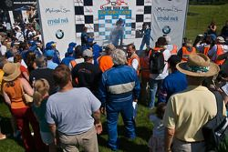 Victory Lane Ryan Truex, Eddie MacDonald, and Jason Holehouse