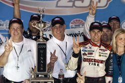 Victorye lane: race winner David Ragan celebrates
