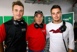 Leo Mansell and Greg Mansell pose with their dad Nigel
