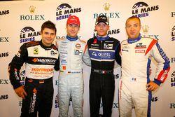 LMGT2 pole winner Pierre Kaffer, LMP1 pole winner Stefan Mücke, LMP2 pole winner Olivier Pla, LMGT1