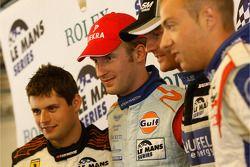 LMGT2 pole winner Pierre Kaffer, LMP1 pole winner Stefan Mücke, LMP2 pole winner Olivier Pla, LMGT1 pole winner Laurent Groppi