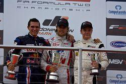 Podium celebrations: Mikhail Aleshin, Andy Soucek and Tobias Hegewald