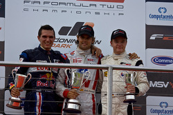 Podium celebrations: Mikhail Aleshin, Andy Soucek and Tobias Hegewald
